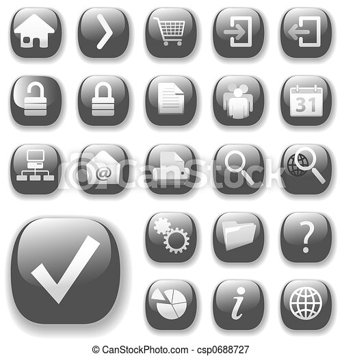 Web Icons Gray_DropShadows - csp0688727