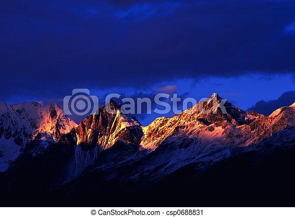 Mount in the sunrise