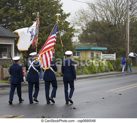 Military Color Guard Marching on a Foggy Day - csp0690048
