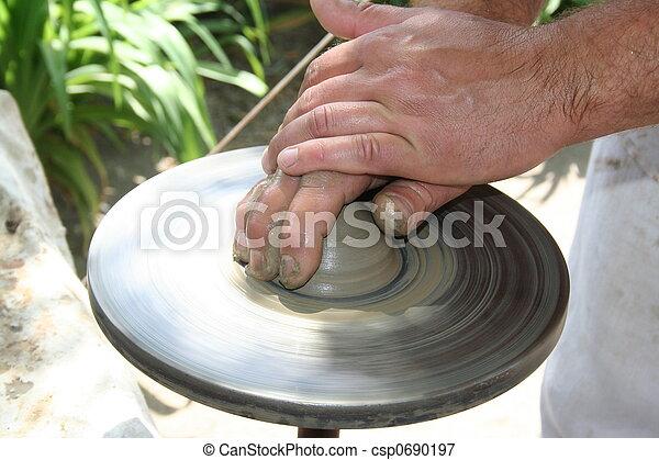 Craft. Inspiration. Potter at work  - csp0690197