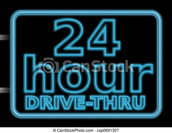 neon sign 24hr drive - csp0691307