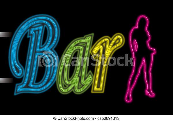 neon sign bar sexy - csp0691313