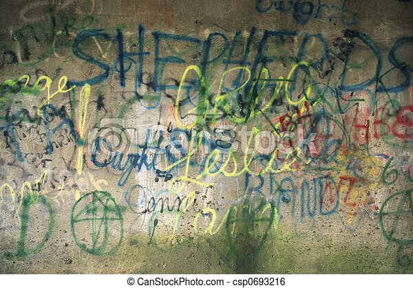 Graffiti on side of building - csp0693216