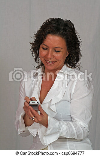 woman with handy, surprised