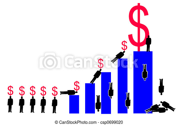 Stock Illustration of Corporate Greed - corporate types climbing a ...