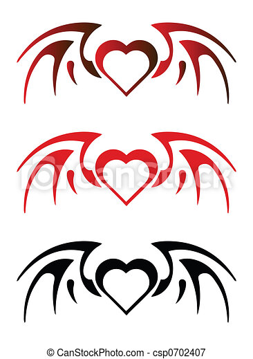 Stock Illustrations of Gothic heart with wings csp0702407 ...