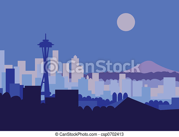 Seattle Skyline Drawing Seattle Skyline And mt Rainer