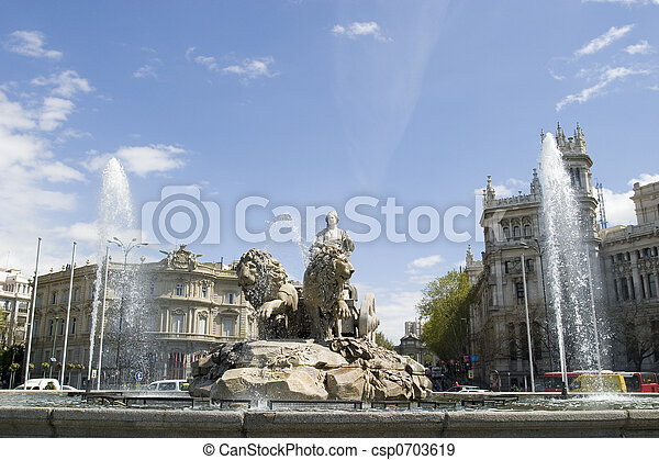 Cibeles Fountain at 0 degrees angle - csp0703619