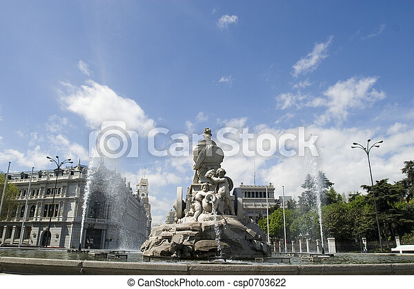 Cibeles Fountain at 180 degrees angle - csp0703622
