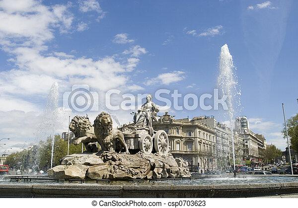 Cibeles Fountain at 20 degrees angle - csp0703623