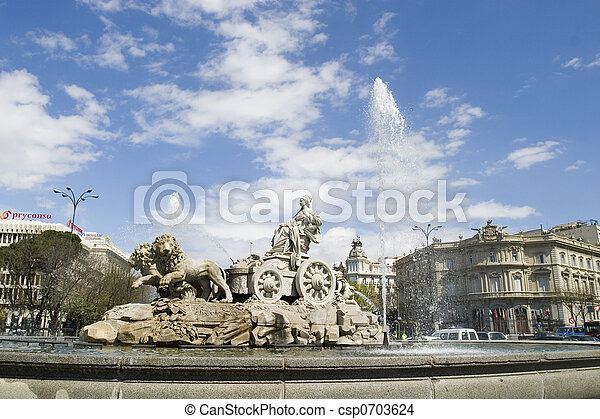 Cibeles Fountain at 45 degrees angle - csp0703624
