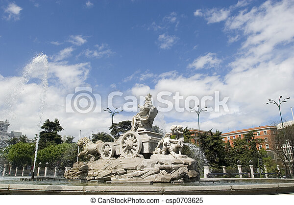 Cibeles Fountain at 60 degrees angle - csp0703625