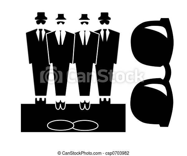 Clip Art of Bouncers or blues brothers