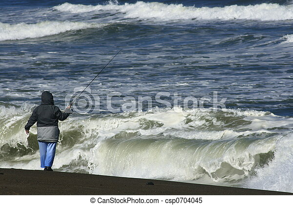 Stock images of surf fishing in oregon this woman is for Oregon free fishing