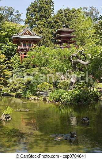 Pagoda in japanese garden - csp0704641