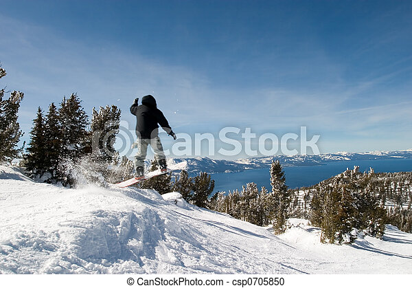 Lake Tahoe with Jumping Snow Border - csp0705850