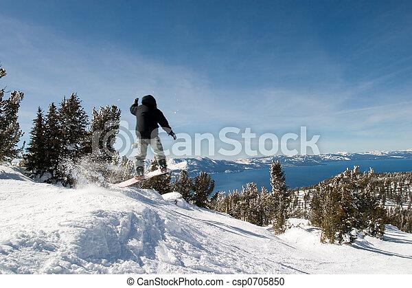 Lake Tahoe with Jumping Snow Border - csp0705850