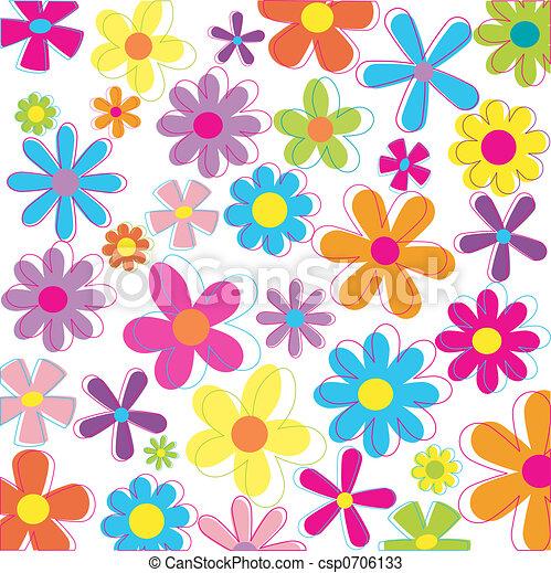 Retro styled flowers - csp0706133