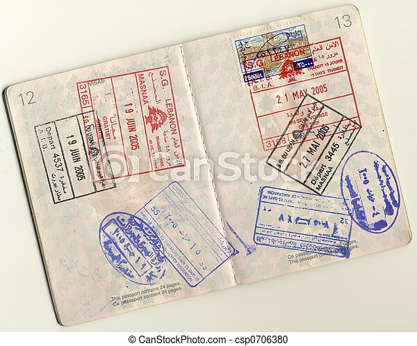 Passport - stamps & Visas - csp0706380
