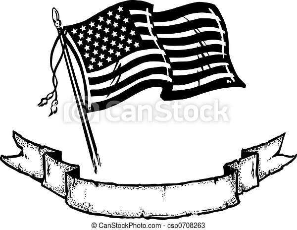 An illustration of the American flag coupled with a banner to add your ...