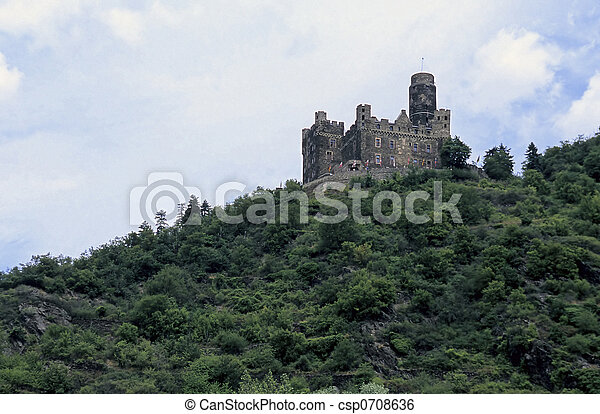 Rhein river valley castle- near Koblenz, Germany - csp0708636