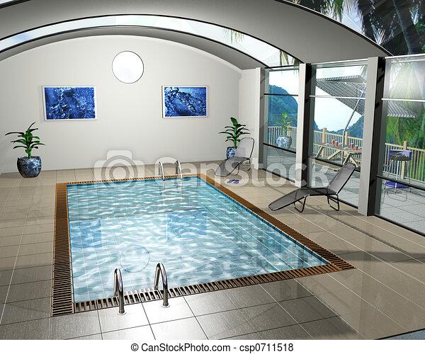 Illustration de piscine maison 3d render int rieur for Piscine d interieur prix