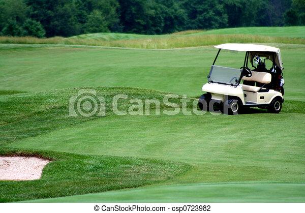 Golf cart on golf course - csp0723982