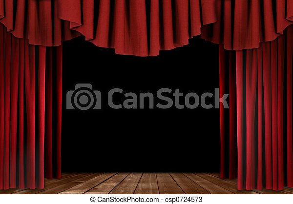Theater Drapes With Wood Floor - csp0724573