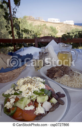 greek taverna lunch over sea view - csp0727866