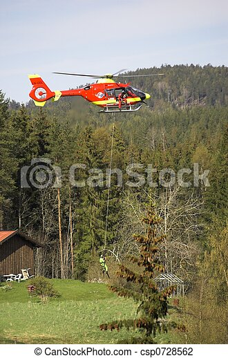Rescue Chopper Take-Off - csp0728562