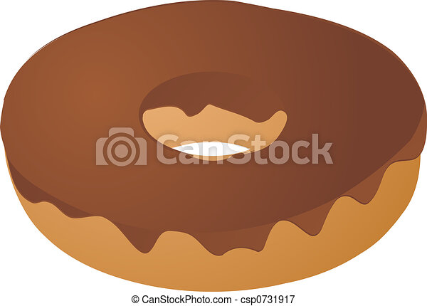 Chocolate icing covered donut - csp0731917