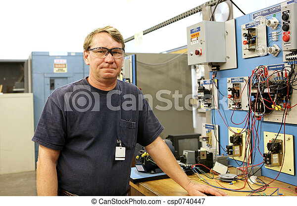Picture Of Electrician At Motor Control Board An