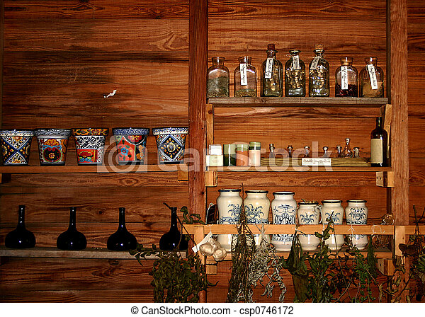 Apothecary Shop Shelves - csp0746172