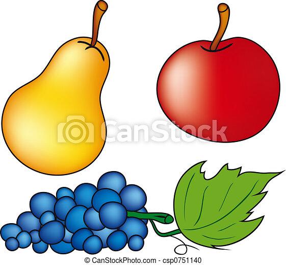 Stock de Ilustration de frutas - manzana, pera, y, uvas, aislado ...