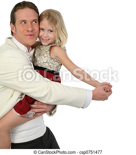 Father and daughter dancing in formals being silly - csp0751477