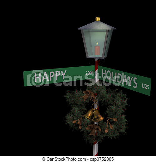 Happy Holidays Street Sign - csp0752365
