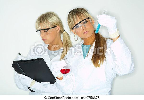 Female in lab - csp0756678