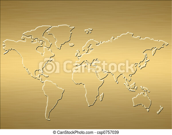 gold world map - csp0757039