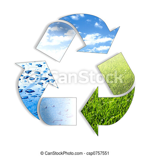 símbolo, reciclaje, tres, elemento - csp0757551