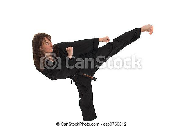 woman doing karate - csp0760012