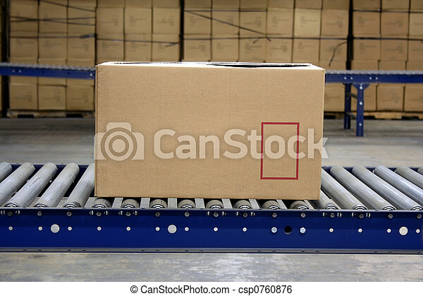 Carton on conveyor - csp0760876