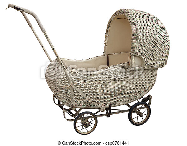 An Antique Wicker Pram - csp0761441