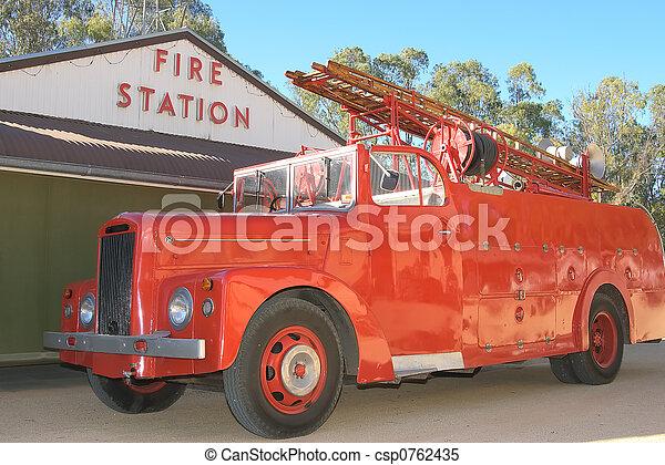 fogo, histórico, caminhão - csp0762435