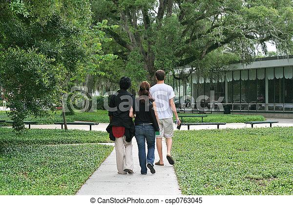 Students Walking Across Campus - csp0763045