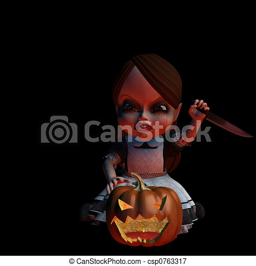 Halloween Doll 2 - Carving - csp0763317