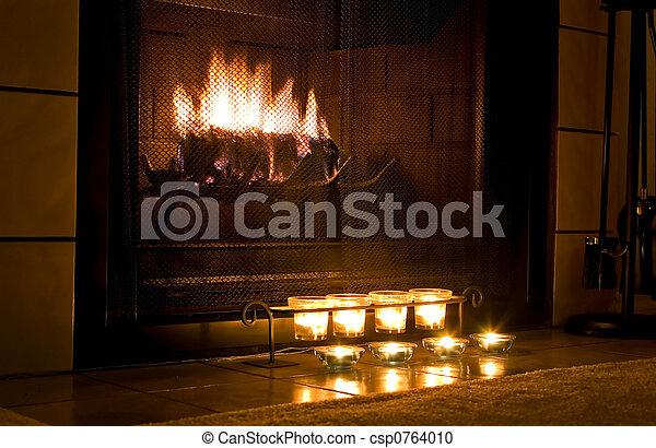 Warm fireplace - csp0764010