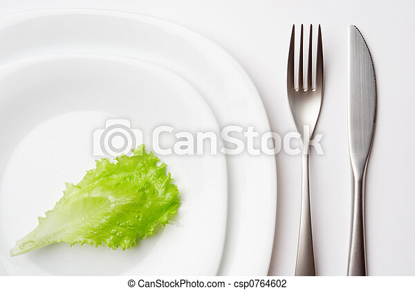 place setting with lettuce leaf - csp0764602