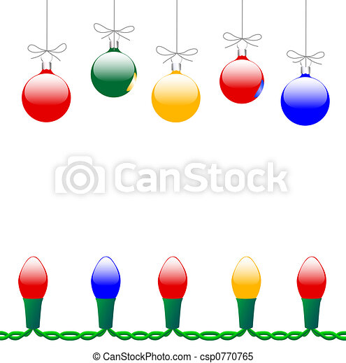 Merry Christmas Ornaments & Light String - csp0770765