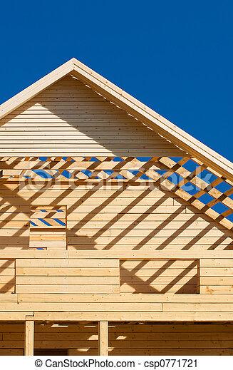 stock fotografie van houten woning onafgewerkt dak en balkon van niet csp0771721. Black Bedroom Furniture Sets. Home Design Ideas