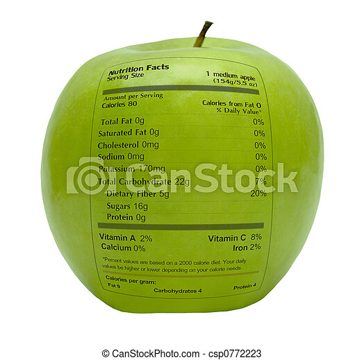 Green apple with nutrition facts - csp0772223